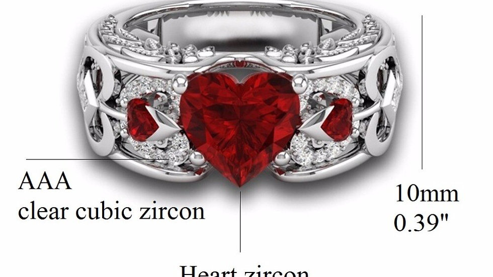 Heart Ring Red Stone