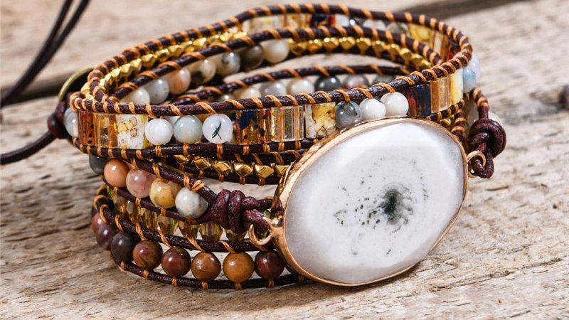 Leather Wrap Bracelets W/ Mix Stone Heart Shape 5 Strands Bracelet