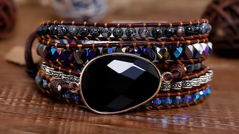 5 Strands Leather Bracelet Black Onyx Woven Wrap Bracelets Bohemian Bracelet