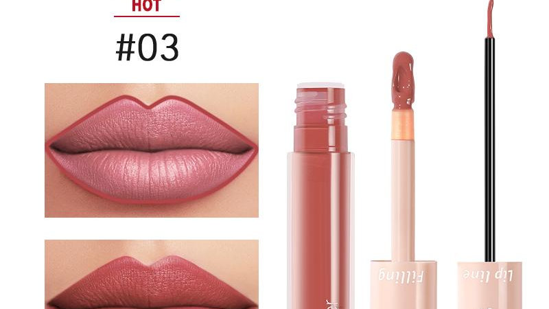2020 New Pudaier Duo Lip Liner & Matte Liquid Lipstick - Color #03 Brownish Red