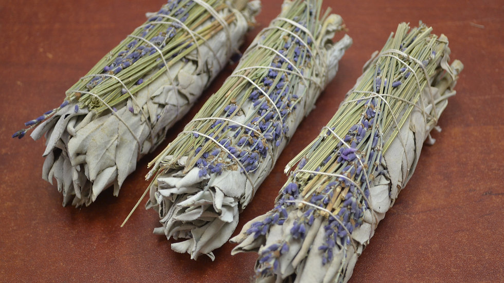 "3 Pcs California White Sage + Lavender Bundle Smudge 4"""