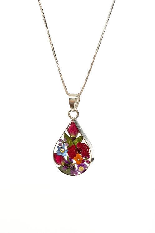 Teardrop Mixed Flower - Medium Silver 925