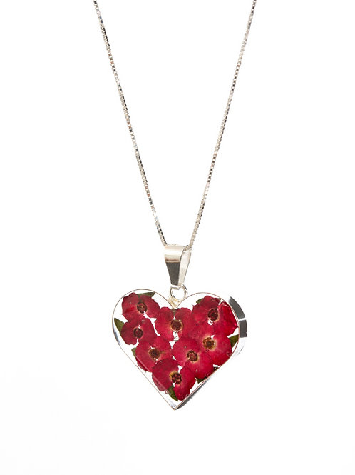 Love Heart Poppy Necklace - Real Flowers - Lg
