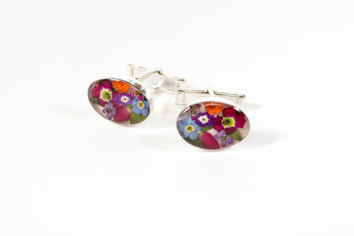 Unisex Oval Cuff Links - Mixed Flowers Silver 925