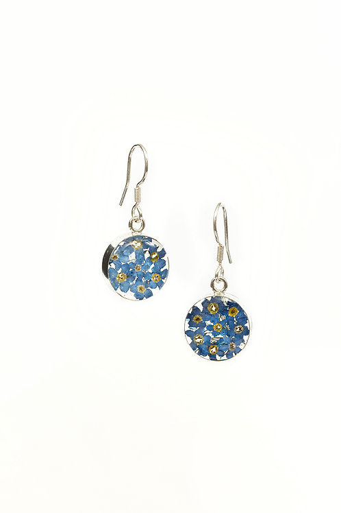 Round Dangle Earrings - Forget Me Not - Silver 925