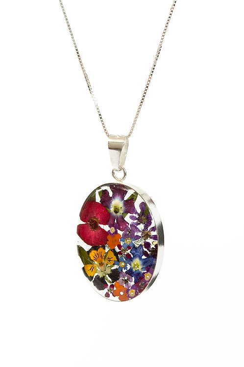 Oval Mixed Flower Necklace - Lg