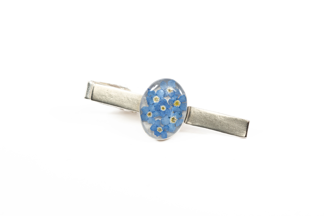 Forget Me Not Tie Clip Real Flower Jewellery