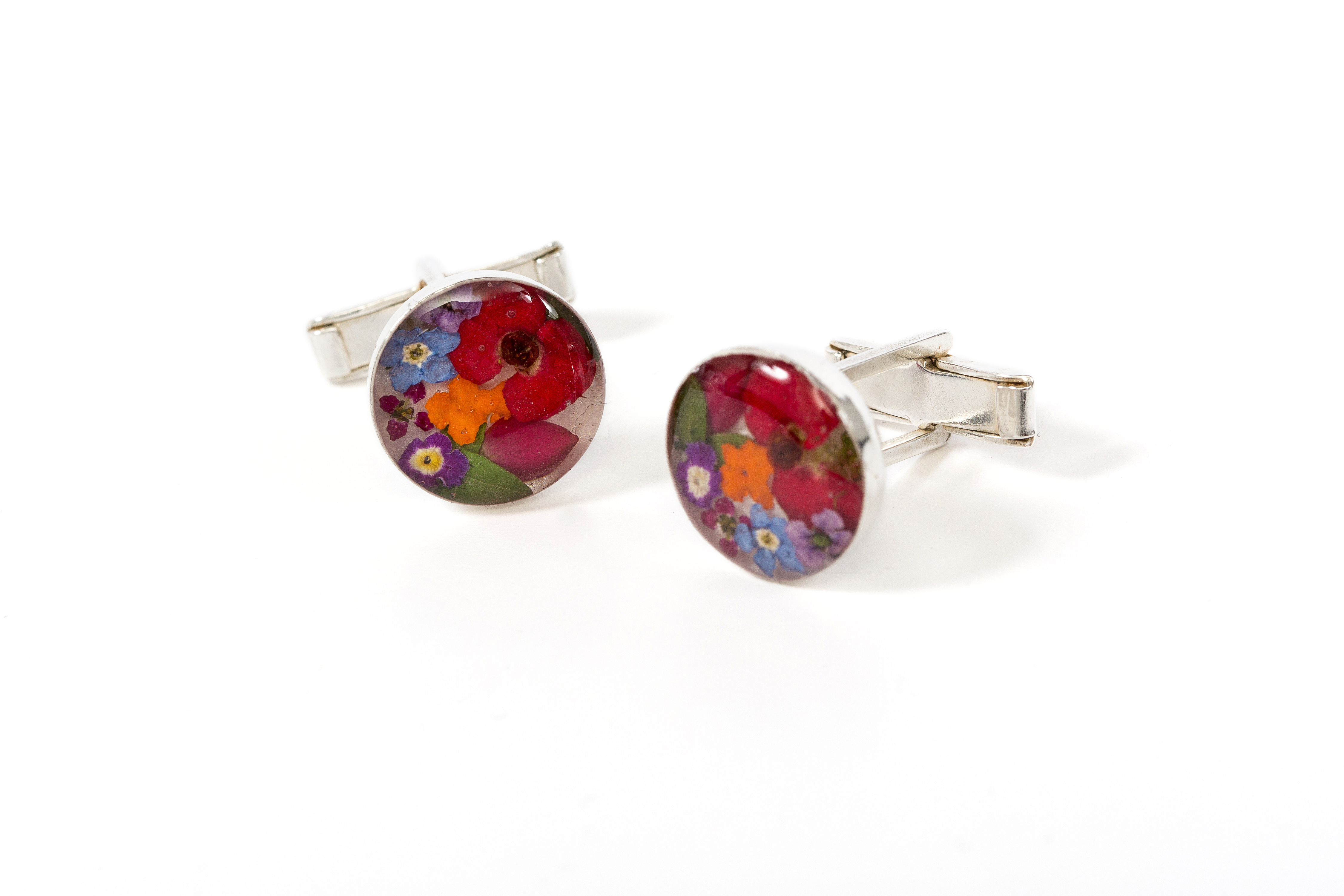 Cuff Links Round Mixed Flowers