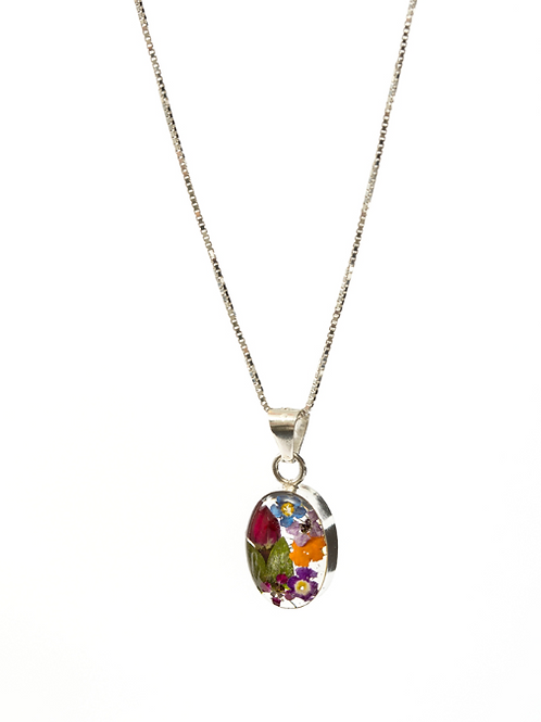 Oval Small Mixed Flower Necklace - Silver 925