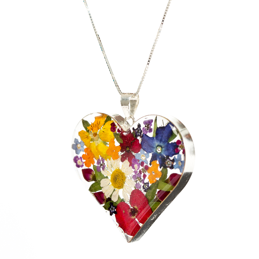 Love Heart Necklace Mixed Flowers Lg