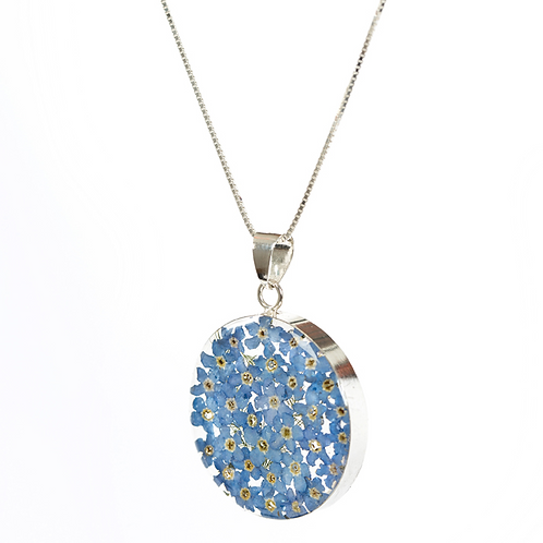 Round - Silver 925 - Forget Me Not - Necklace - Lg