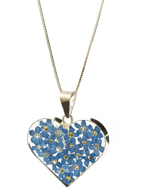 Heart Forget Me Not - Large - Silver 925