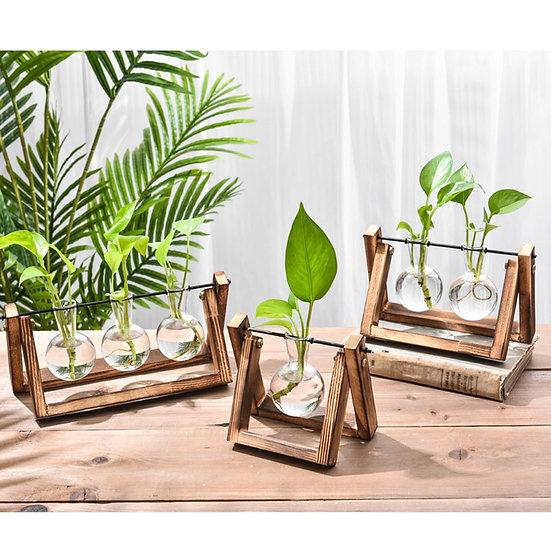Transparent Vase Wooden Frame
