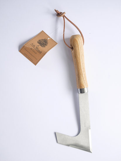 Stainless steel paving weeder with ash handle