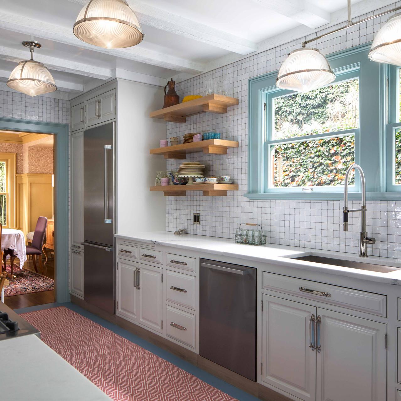 high gloss white tile Portland kitchen design Daniel House