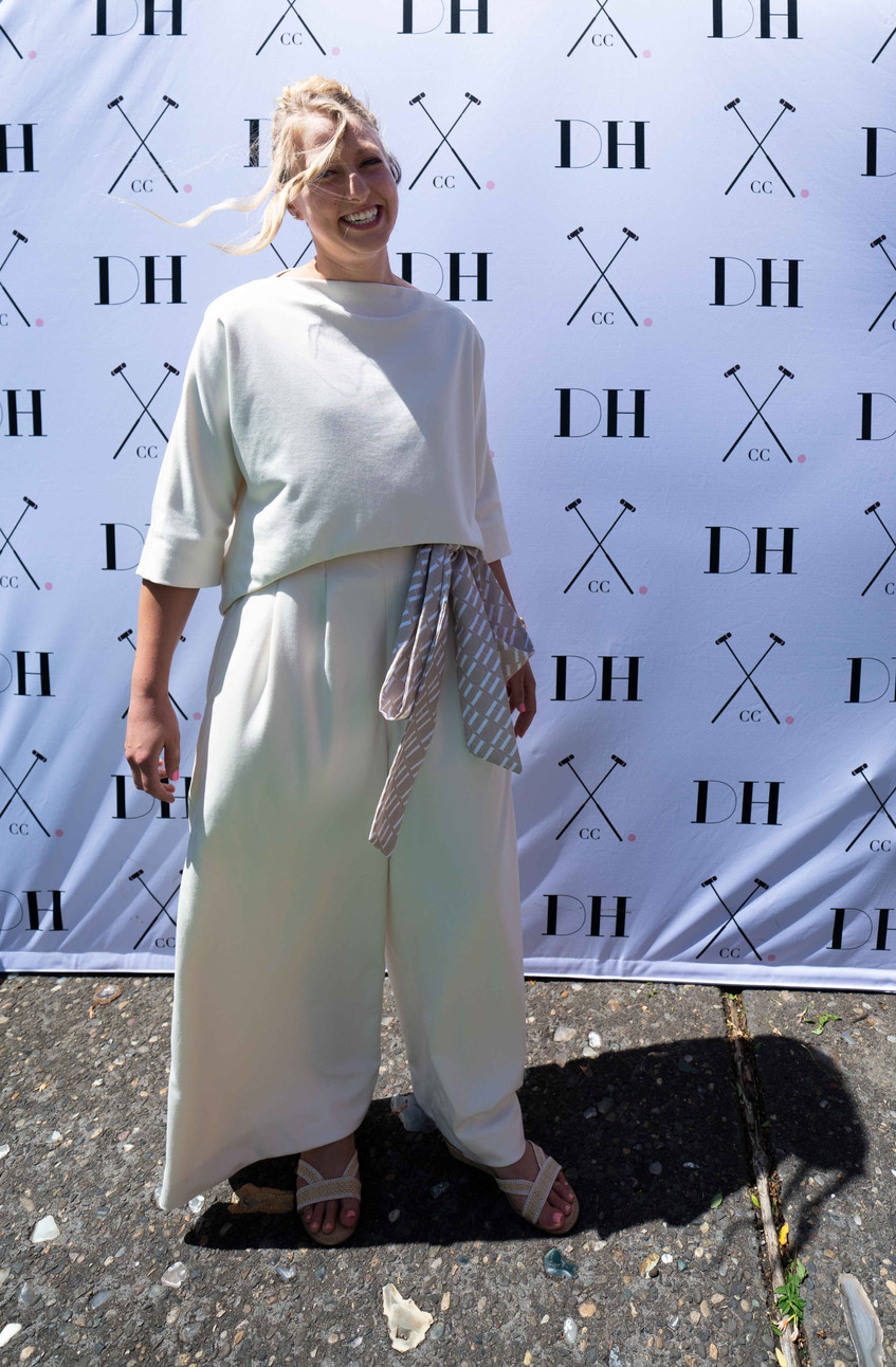 Valerie Rippey wears custom croquet whites designed by Peter spading and Martha Spalding for the Daniel House croquet classic