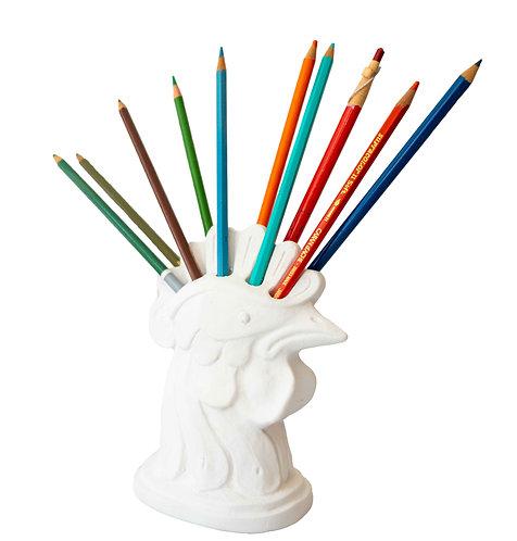 White Plaster Desk Top Pencil Organizer
