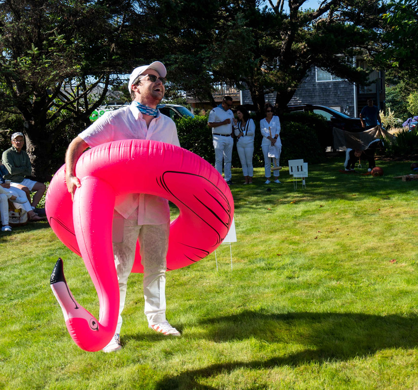 Alexander Spalding at the Daniel House Croquet Classic; with the pink flamingo in cannon beach Oregon; best event in Oregon