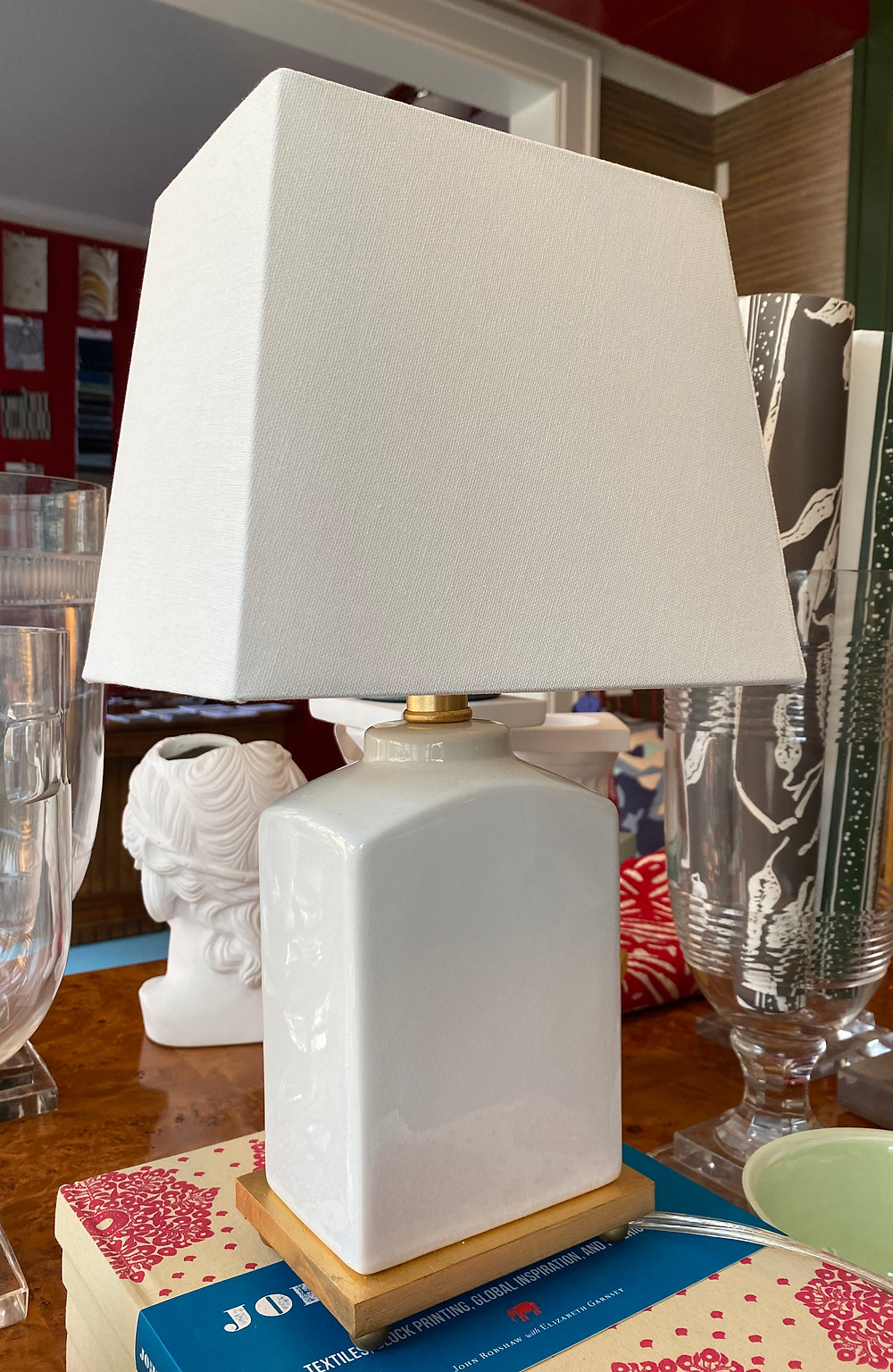 brynn table lamp white ceramic splayed shade small light gilded base designer favorites staples savings