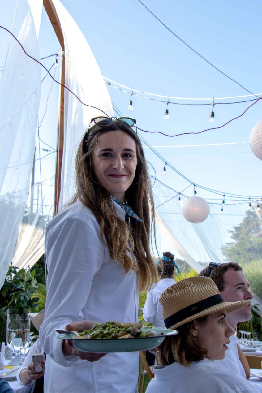 Serving at the Daniel House croquet classic, portland event design, croquet whites