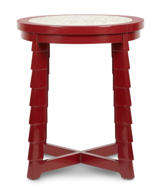 Mateo drinks table, bunny Williams, end table, red table