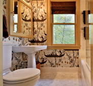People often fear putting wallpaper in bathrooms. Don't.