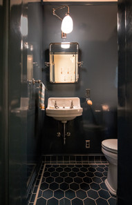 This bathroom in lacquered in deep blue to give a truly unique experience