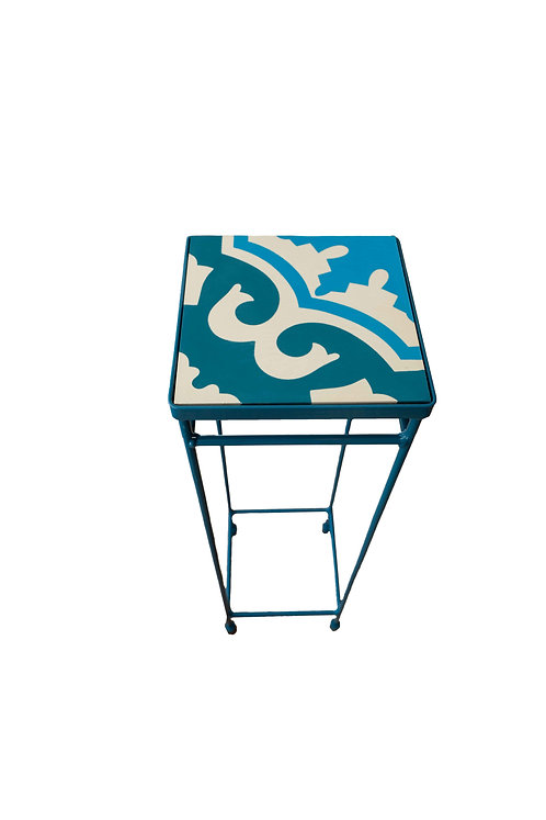 Blue Metal Cocktail Table