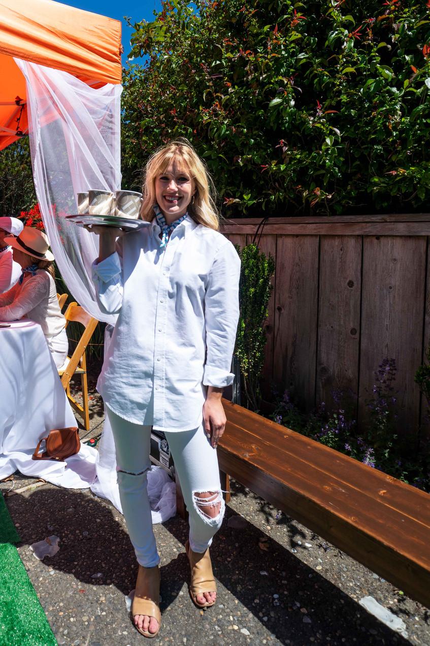 croquet classic server, all white uniform, event design