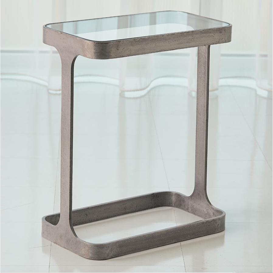 iron and glass end table saddle Daniel House global views