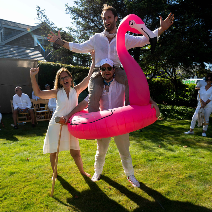 the Spalding family hosts the Daniel House croquet classic in cannon beach Oregon wearing croquet whites; Martha Spalding; Peter Spalding; Alexander Spalding