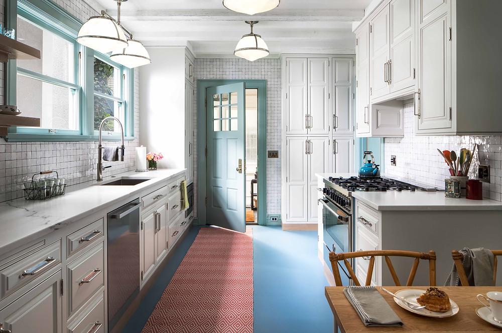 kitchen design with white tile, blue floor kitchen, luxury kitchen design