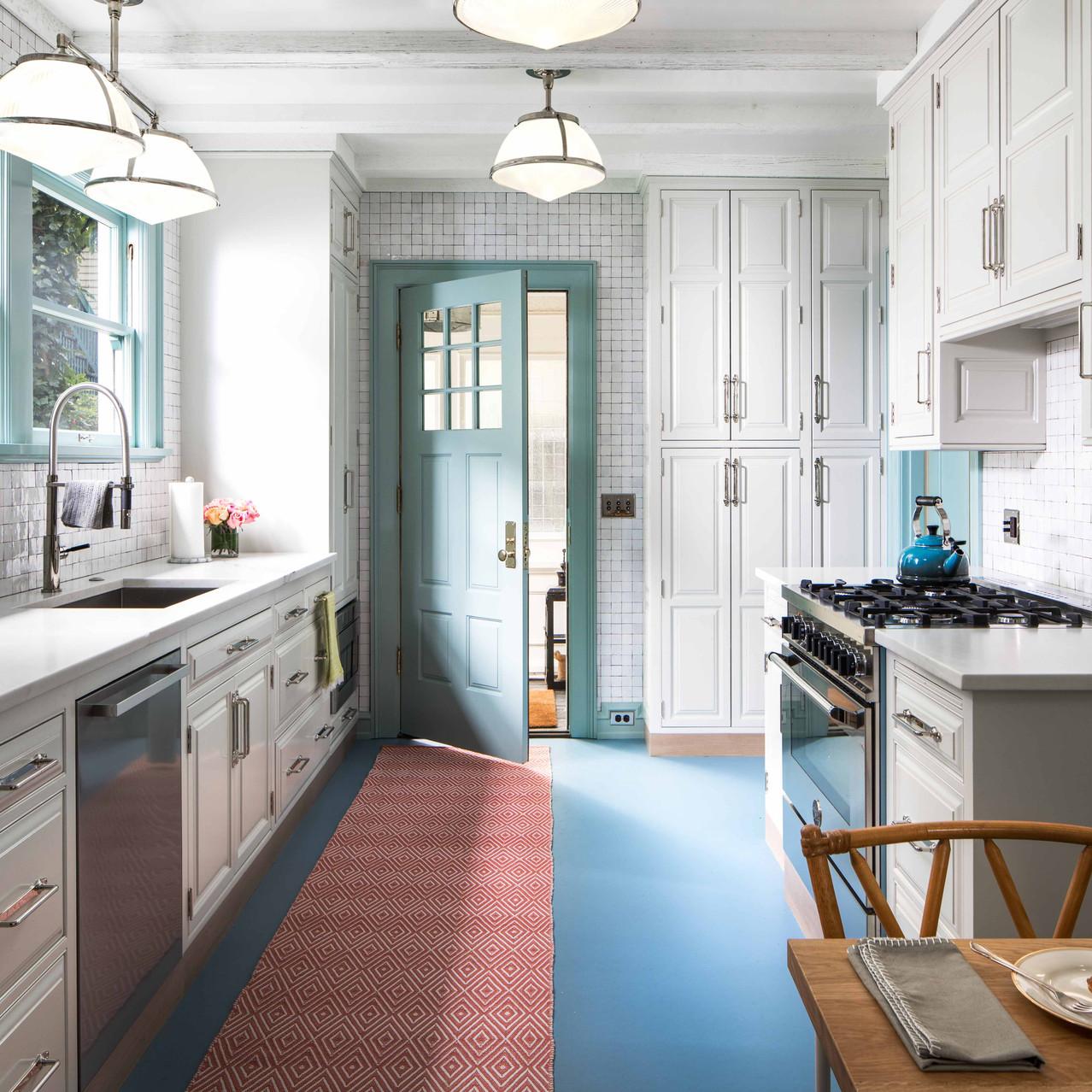 white kitchen cabinets, rejuvenation lights