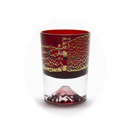 田島硝子金箔冷酒杯 - 銅赤