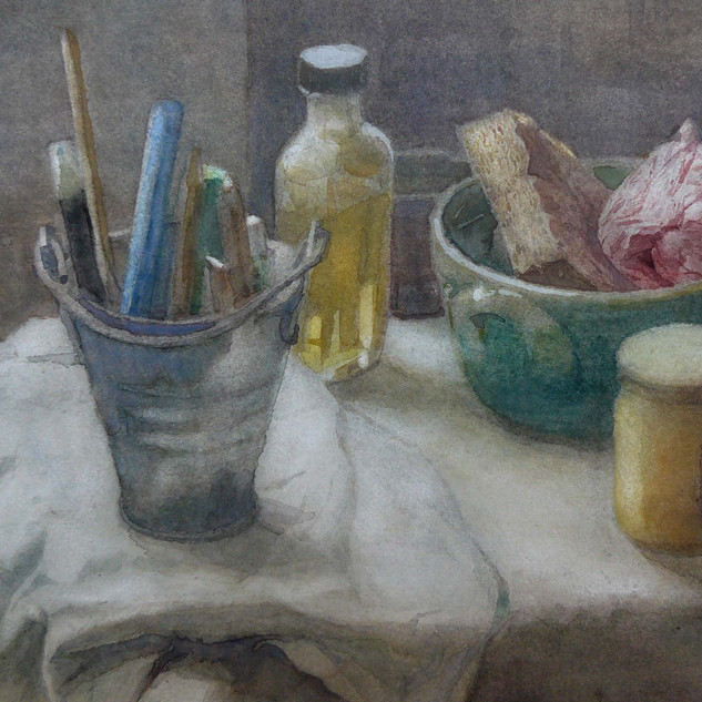 Still life with bottle linseed oil