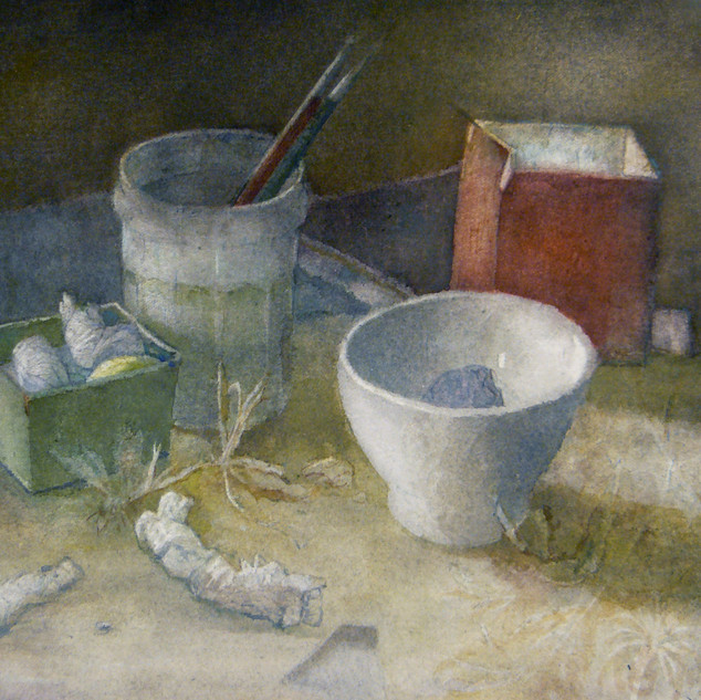 Still life with red box