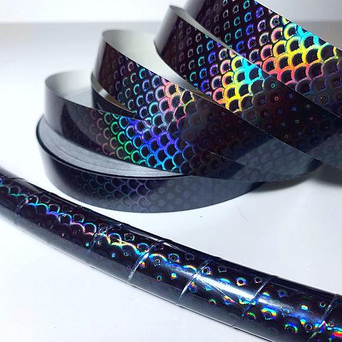 Black Rainbow Mermaid Taped Hoop