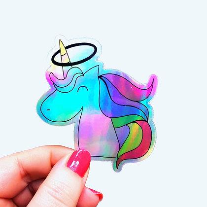Holographic Pastel Hoopicorn Sticker