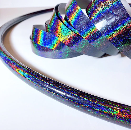 """R2S - 30"""" 5/8"""" Black Hologlitter Taped Polypro Hoop + Clear Tape"""