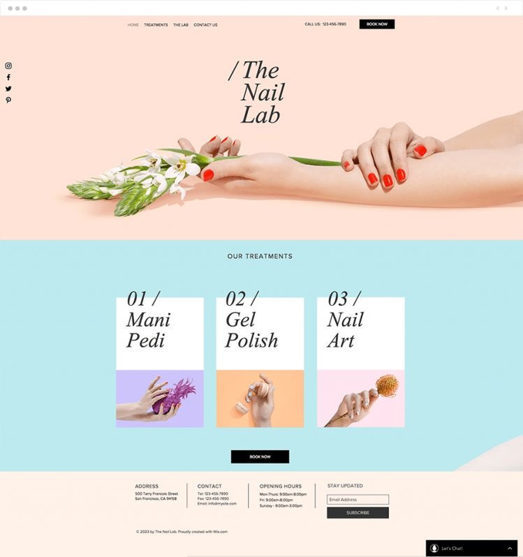 Use Wix to create a website for your beauty business