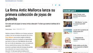 Hoy en el Diario de Mallorca en primicia la primera y nueva colección de joyas de Antic Mallorca