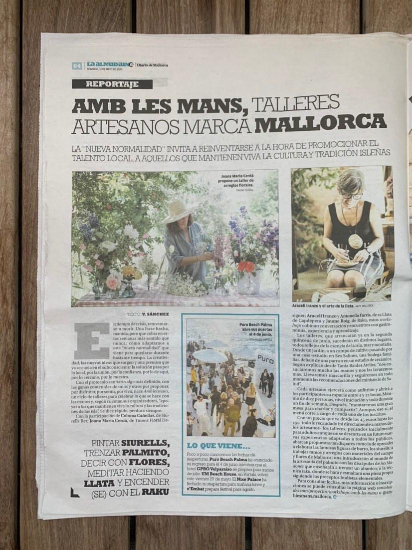 Antic Mallorca realiza talleres de llata durante el mes de junio dentro del ciclo de talleres artesanos Amb les mans, comisariado por Tania Baides.
