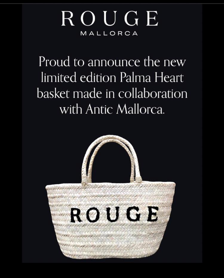 """Anucniamos la nueva edición limitada """"Palma Heart basket"""" de Rouge Mallorca en colaboración con Antic Mallorca. Parte del beneficio de su venta será donado a la investigación del corona virus a trevés de la Fundación Amancio Ortega."""