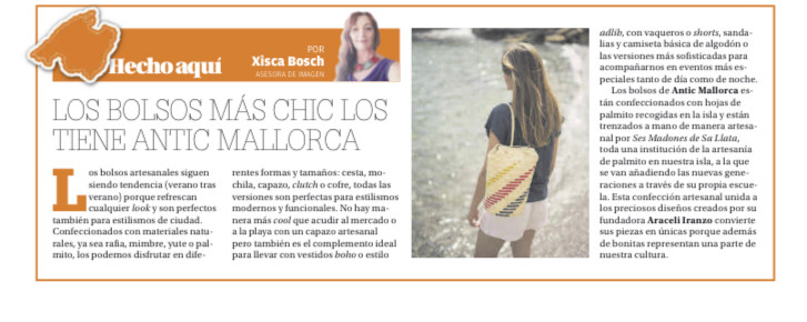 """Los bolsos más chic son los de Antic Mallorca, según Xisca Bosch en la sección """"Hecho aquí"""" del Diario de Mallorca"""