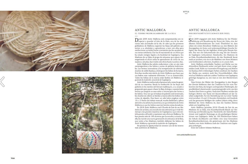 Antic Mallorca en la primera edición de The M Magazine.