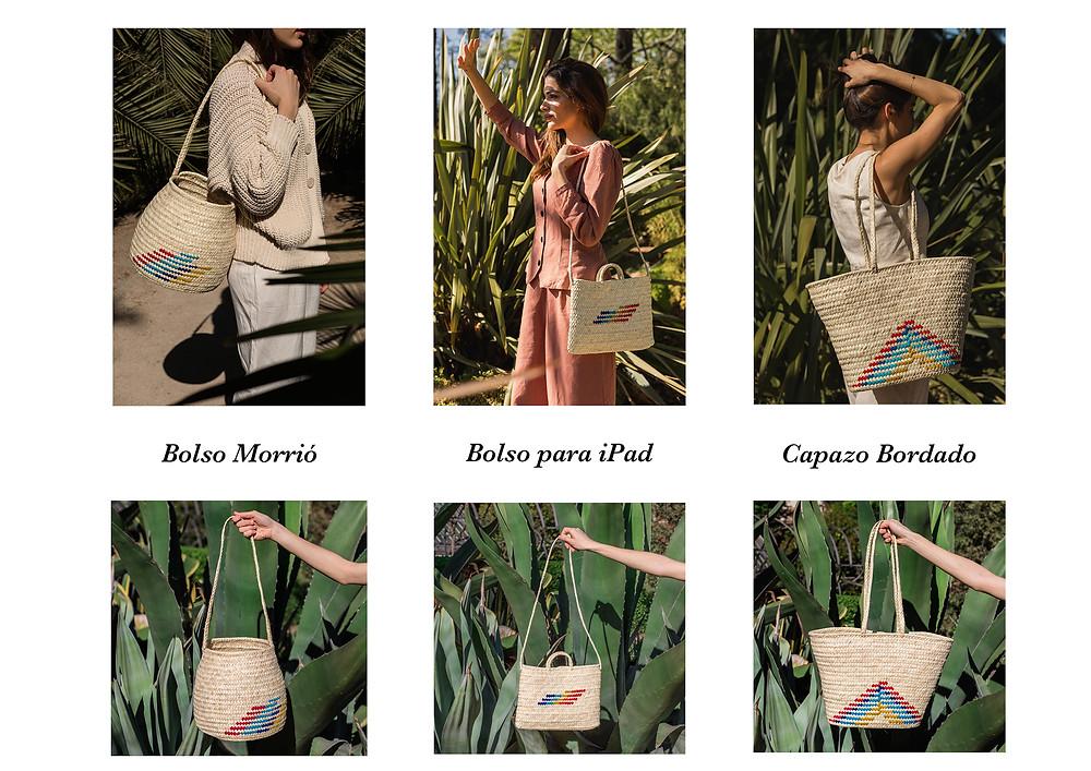 Bolso Morrió, Bolso para Ipad y Capazo bordado. Los tres modelos de la Edición Especial Antic Mallorca & Real Fábrica.