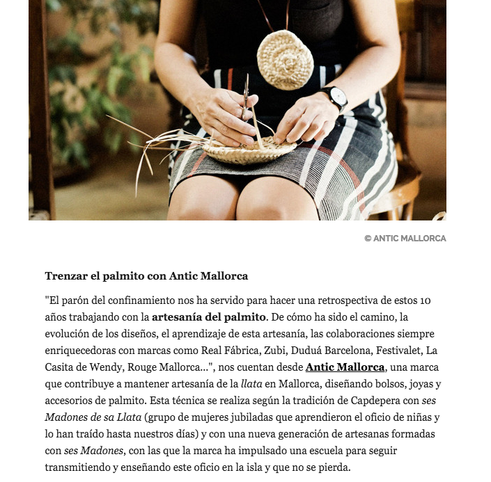 En la revista AD hablan del ciclo de talleres Amb les mans, en los que enseñamos la artesanía del palmito, según la tradición de ses madones de sa llata de Capdepera.