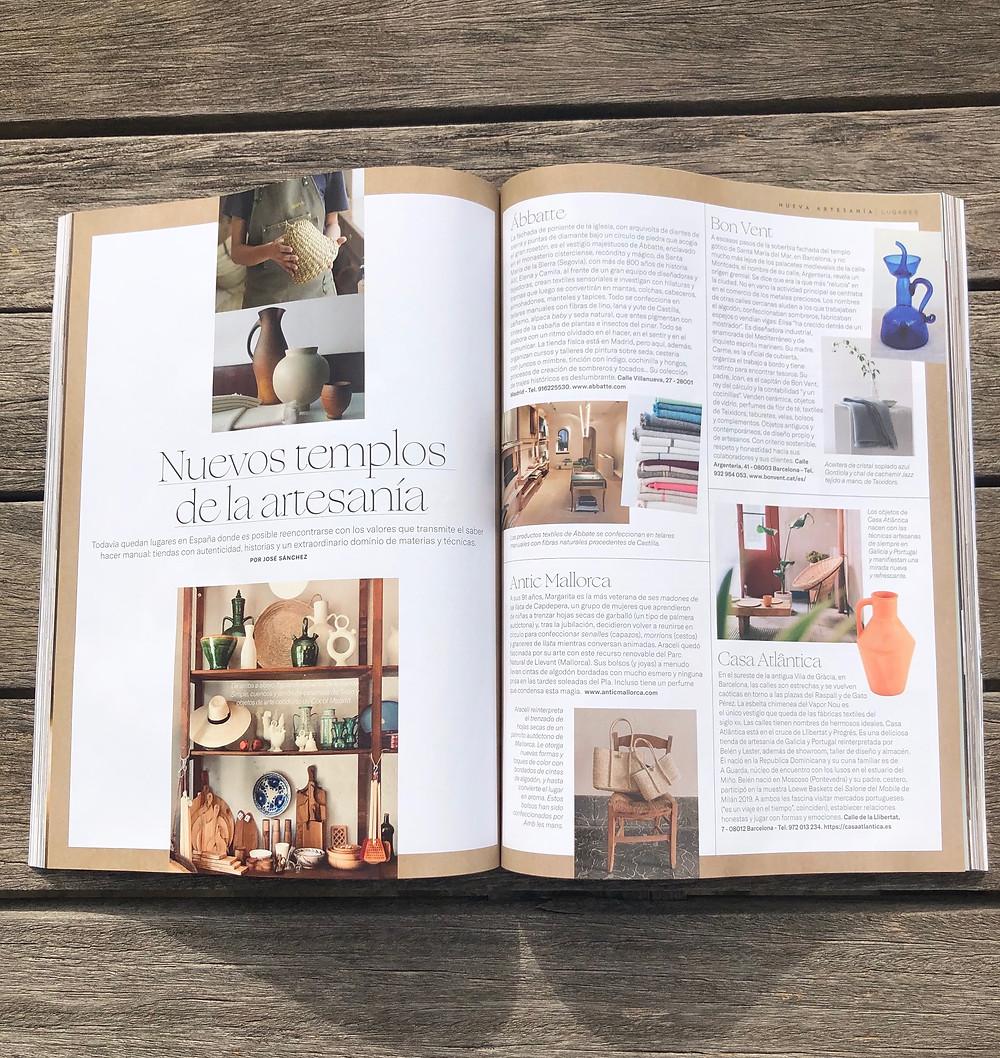La revista Arquitectura y Diseño inlcuye a Antic Mallorca en su selección de artesanía de España honesta, auténtica y con historia.