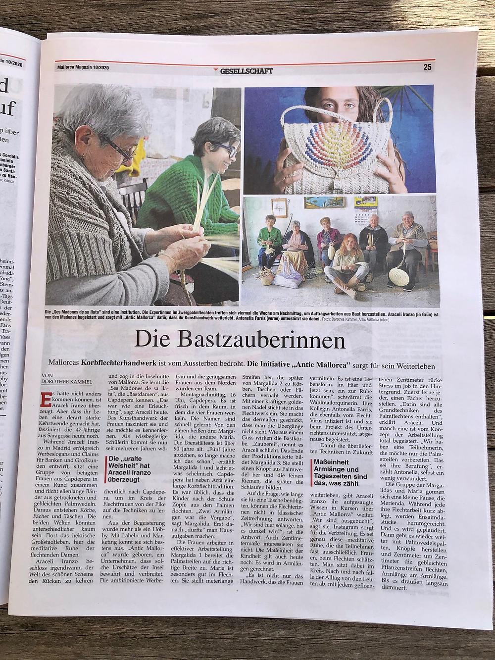 """La artesanía del palmito tiene futuro con Antic Mallorca y su """"Escola del art de ses Madones de sa Llata""""."""