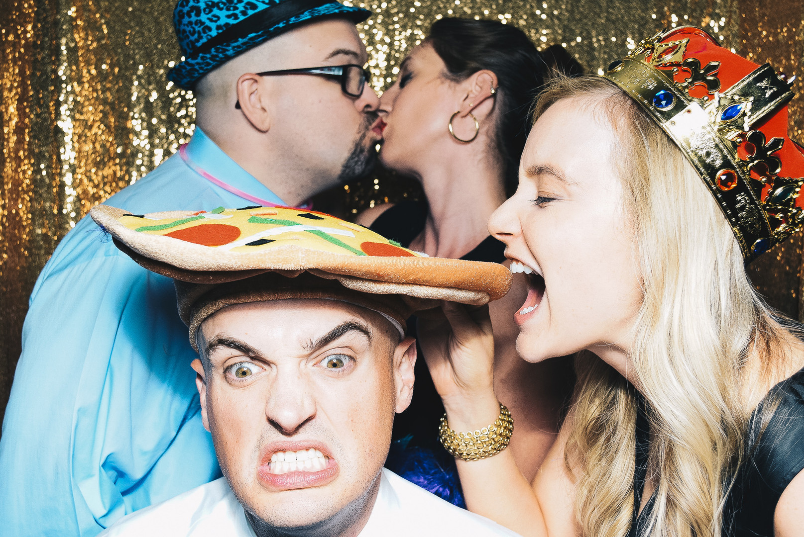 Two couples in PhotoSnap Photo Booth
